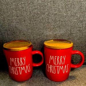 Rae Dunn MERRY CHRISTMAS mugs with wood lids